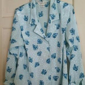 Lady Arrow Blue Floral Button Down Blouse Sz 10